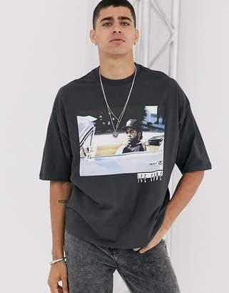 Asos Design DESIGN Ice cube oversized t-shirt in washed black