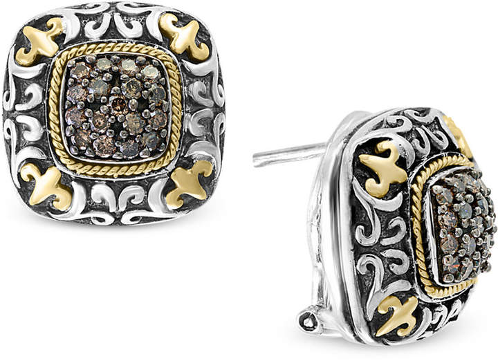 Effy Diamond Square Cluster Filigree Stud Earrings (5/8 ct. t.w.) in Sterling Silver and 18k Gold