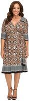 Kiyonna Beguiling Border Print Dress