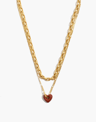 Madewell Enamel Heart Chain Necklace Set