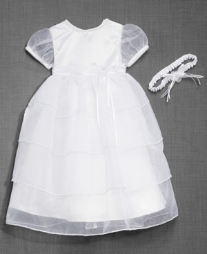 Lauren Madison Baby Girls Christening Dress & Headband