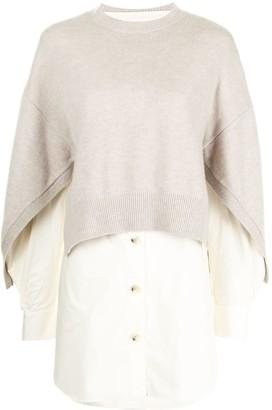 Enfold Knit-Overlay Shirt