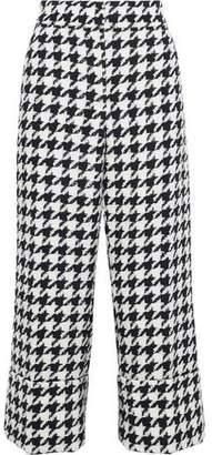 Oscar de la Renta Cropped Houndstooth Wool-blend Jacquard Straight-leg Pants