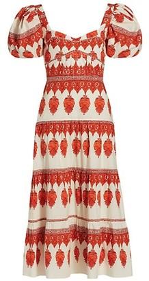 Johanna Ortiz Red Pepper Colorful Culture Midi Dress