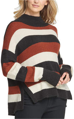 DKNY Striped High-Low Hem Sweater