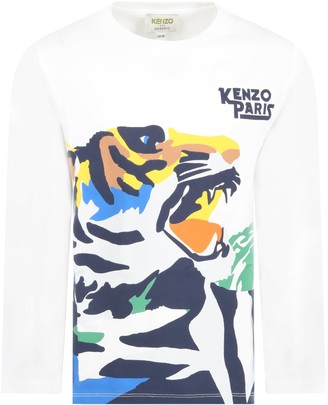 Kenzo Kids White T-shirt For Boy With Tiger