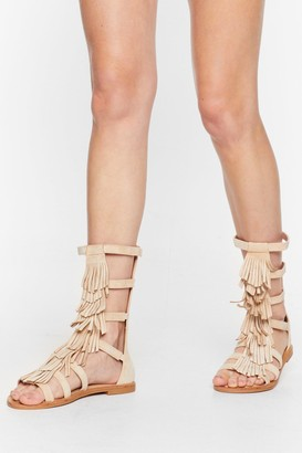 Nasty Gal Womens A-Frayed So Faux Suede Fringe Sandals - Beige - 3