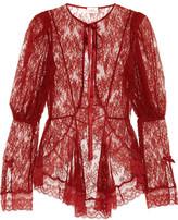 Agent Provocateur Marcia Leavers Lace Jacket - Claret