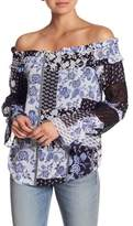 DR2 by Daniel Rainn Patterned Off-the-Shoulder Crochet Inset Blouse
