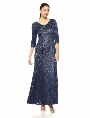 Alex Evenings Women's Long V-Neck Fit and Flare Dress Lace Navy/Nude 12