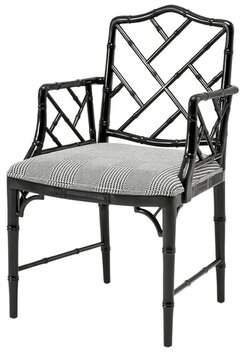 Eichholtz Dixon Slat Back Arm Chair in Black