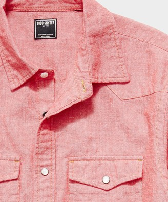 Todd Snyder Japanese Chambray Western Shirt in Red