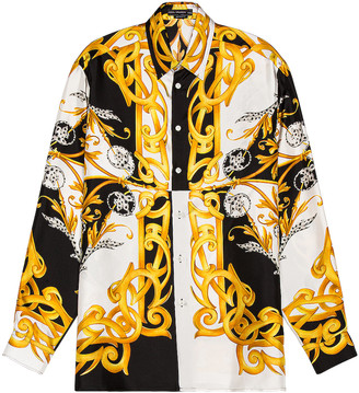 Versace Long Sleeve Shirt in White & Black & Gold | FWRD