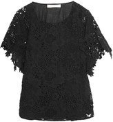See by Chloe Macramé lace-paneled cotton-voile top