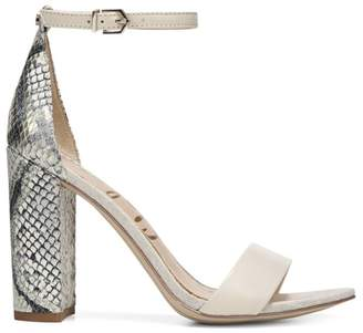 Sam Edelman Yaro Ankle-Strap Snake-Embossed Leather Sandals