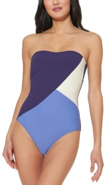 Jessica Simpson Colorblocked Strapless One-Piece Swimsuit Women's Swimsuit