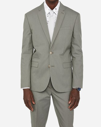 Express Slim Olive Green Cotton Blend Stretch Suit Jacket