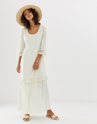 Vero Moda broderie smock maxi dress-Cream