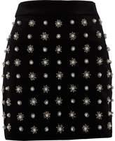 River Island Womens Black faux pearl embellished mini skirt