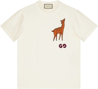 Gucci Oversize T-shirt with deer patch