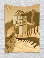 Asian Decor Tapestry Wall Hanging by Ambesonne, Great Wall of China with Ancient Castle at Sunset Silk Road Barrier Old Cultural Heritage Print, Bedroom Living Room Dorm Decor, 60WX80L Inches, Cream