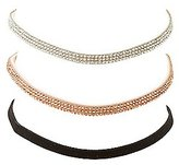 Charlotte Russe Rhinestone & Faux Suede Choker Necklaces - 3 Pack