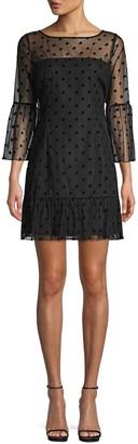 BB Dakota Dot-Print Mesh A-Line Dress