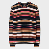 Paul Smith Men's Taupe Mixed-Stripe Lambswool Sweater