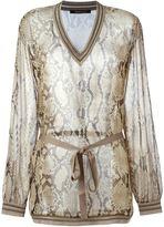 Roberto Cavalli sheer snakeskin blouse - women - Silk/Polyester/Viscose - 44