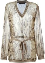 Roberto Cavalli sheer snakeskin blouse - women - Silk/Viscose/Polyester - 44