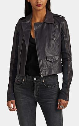 Rick Owens Women's Stooges Leather Crop Moto Jacket - Navy