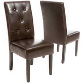 Asstd National Brand Owen Set of 2 Bonded Leather Parsons Dining Chairs