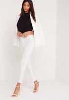 Missguided Satin Panel Cigarette Pants Suit White