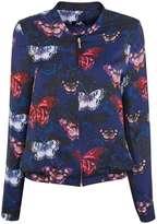 Navy Butterfly Print Bomber Jacket