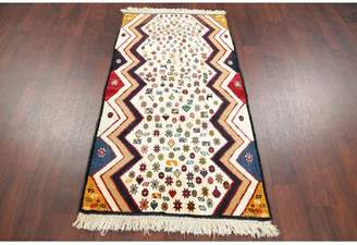 Splendid Rugsource One-of-a-Kind Geometric Gabbeh Persian Oriental Hand-Knotted 2'9'' x 4'11'' Wool Beige/Black/Green Area Rug Rugsource