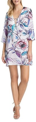 Gottex Swim First Bloom V-Neck Floral Lace-Up Tunic