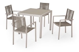 Christopher Knight Home Peridot Outdoor Modern 4 Seater Aluminum Dining Set with Tempered Glass Table Top