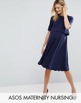 Asos PETITE NURSING Scallop Dress with Short Sleeve