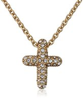 """Judith Jack Golden Class"""" Sterling Silver and Gold-Tone Crystal Marcasite Reversible Cross Pendant Necklace"""