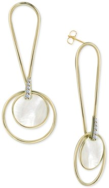 Argentovivo Mother-of-Pearl Circle Drop Earrings in Gold-Plated Sterling Silver