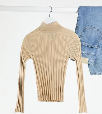 ASOS DESIGN Petite ribbed roll neck sweater