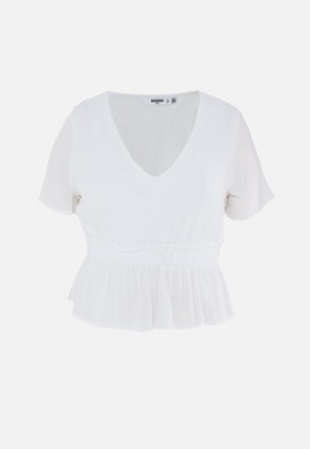 Missguided Plus Size White Cheesecloth Plunge Blouse