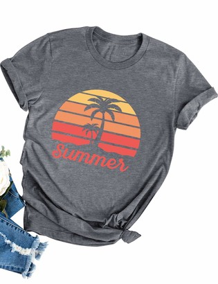 Dresswel Women Summer Tops Vintage Graphic Print T-Shirt Crew Neck Short Sleeve Tee Shirts Dark Grey