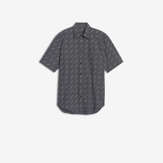 Balenciaga Allover Logo Normal Fit Short Sleeves Shirt in black and white checked poplin