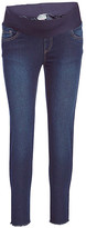 Times 2 Women's Denim Pants and Jeans Dark - Dark Wash Frayed-Hem Maternity Skinny Jeans - Plus Too