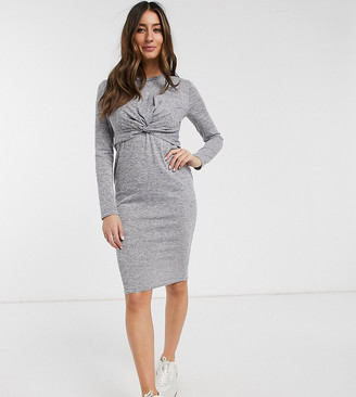 New Look Maternity twist front nursing dress in grey