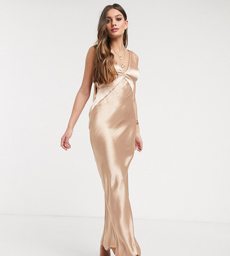 ASOS DESIGN Petite panelled satin maxi dress with cowl back