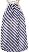 MICHAEL Michael Kors Chain-embellished Striped Georgette Top - Navy