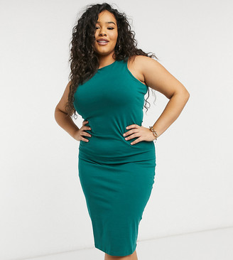Outrageous Fortune Plus exclusive racer back midi dress in emerald green