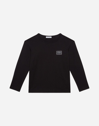 Dolce & Gabbana Long-Sleeved Jersey T-Shirt With Plate